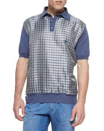 Knit and Check-Silk Polo, Slate