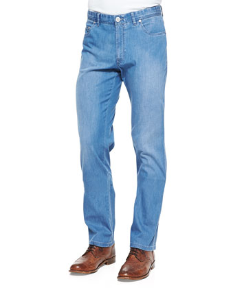 5-Pocket Stretch-Denim Jeans, Light Blue