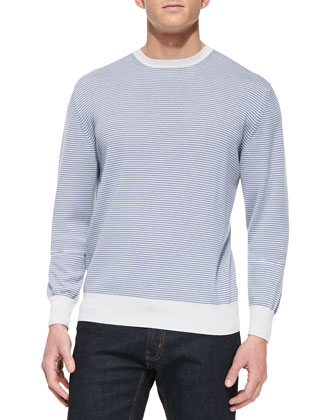 Fine-Stripe Cashmere Crewneck Sweater, Blue/White