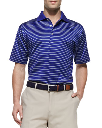 Mercy Stripe Polo Shirt, Blue/White