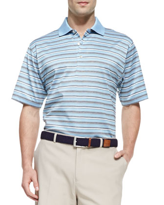 Henley Stripe Polo Shirt