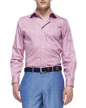 Texture-Stripe Poplin Shirt