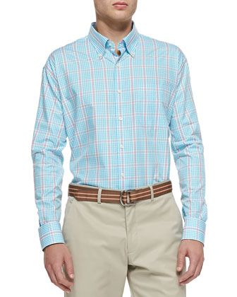 Tattersall Button-Down Shirt, Blue