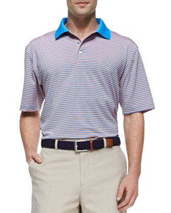 E4 Striped Polo with Contrast Collar