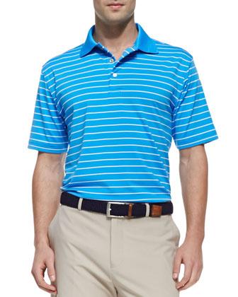 E4 Quarter Stripe Polo Shirt, Blue/White