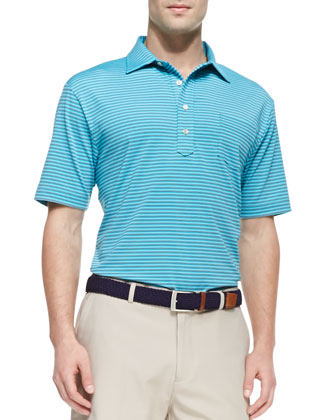 E4 Maritime Striped Polo, Blue