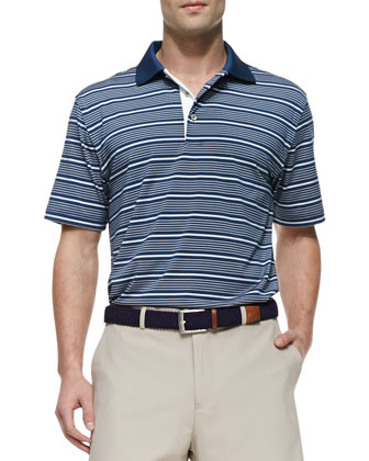 E4 Staly Striped Polo Shirt, Navy/White