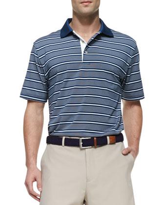 E4 Staly Striped Polo Shirt, Navy/White