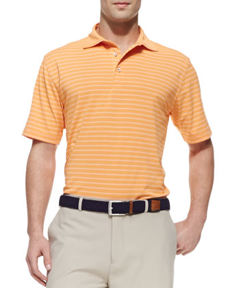 E4 Striped Mesh Polo Shirt, Orange/White