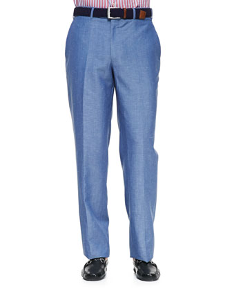 Wool & Linen Flat-Front Dress Pants, Blue