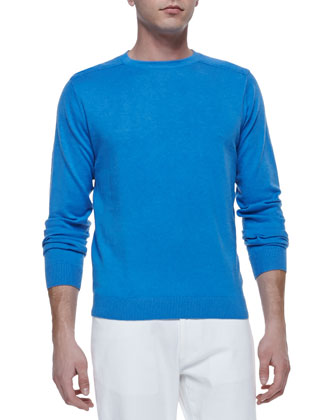 Shoulder-Detail Crewneck Sweater, Blue