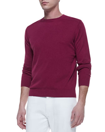Shoulder-Detail Crewneck Sweater, Pink