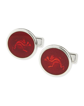 Enamel Tweenie Devil Cuff Links, Red