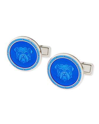 Enamel Bulldog Cuff Links, Blue