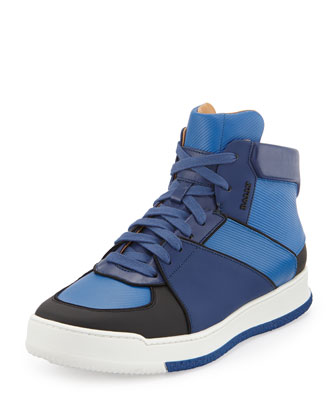 Atsumori Textured High-Top Sneaker, Blue