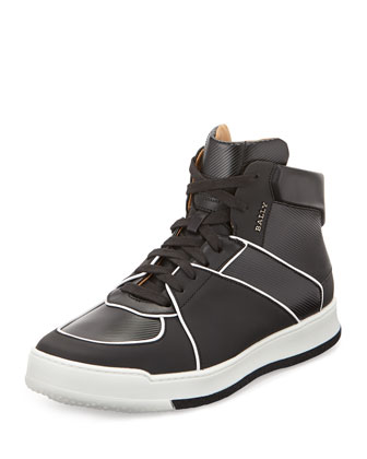 Atsumori Textured High-Top Sneaker, Black