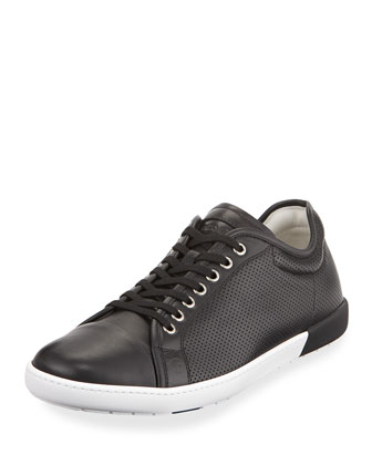 Perforated Leather Sneaker, Black