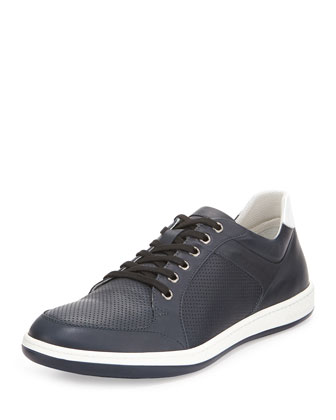 Perforated Leather Sneaker, Navy