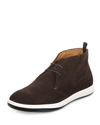 Perforated Suede Chukka Boot, Dark Brown