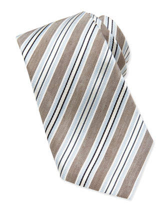 Striped Linen/Silk Tie, Gray