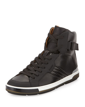 Perforated Leather High-Top Sneaker, Black