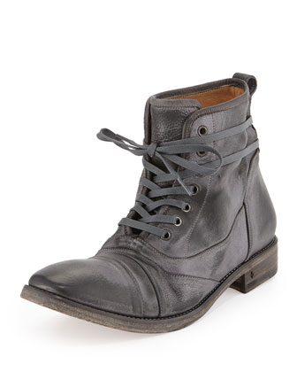 Fleetwood Lace-Up Leather Boot, Metallic