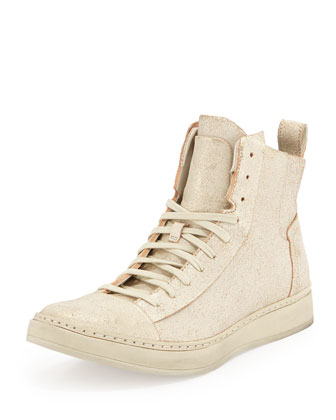 Metallic Leather High-Top Sneaker, Ivory