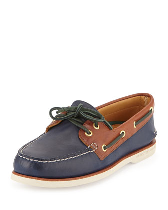 Gold Cup Authentic Original Boat Shoe, Navy/Brown