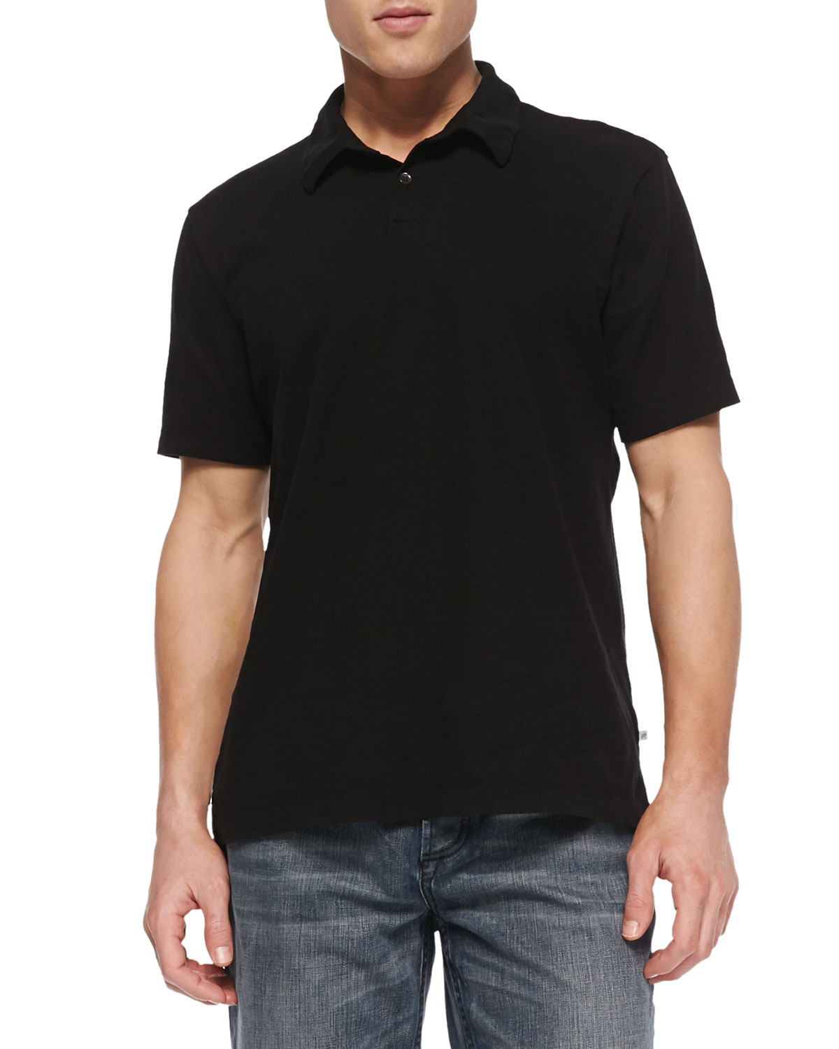 Mens Sueded Jersey Polo Shirt, Black   James Perse   Black (1)