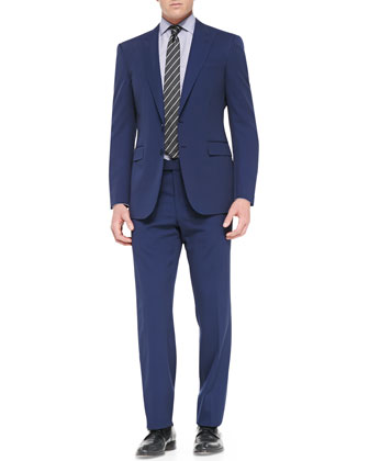 Anthony Two-Piece Pindot Suit, Blue