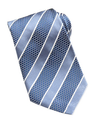 Honeycomb Satin-Stripe Tie, Blue