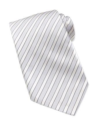 Woven Twill Stripe Tie, Silver