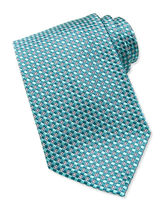 Woven Checkerboard Neat Silk Tie, Teal
