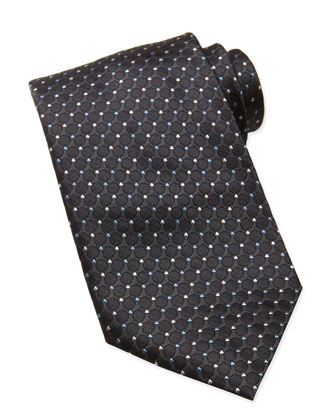 Woven Tonal-Circle Tie, Dark Gray