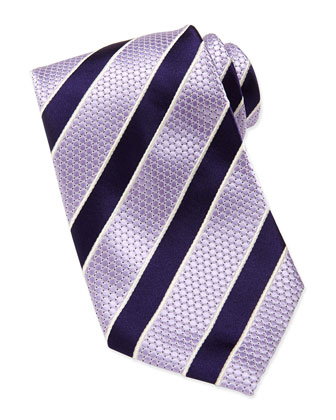 Honeycomb Satin-Stripe Tie, Purple