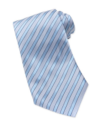 Woven Twill Stripe Tie, Light Blue