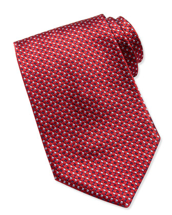 Tossed Rectangle Micro-Neat Tie, Red