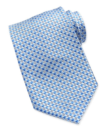 Woven Checkerboard Neat Silk Tie, Blue