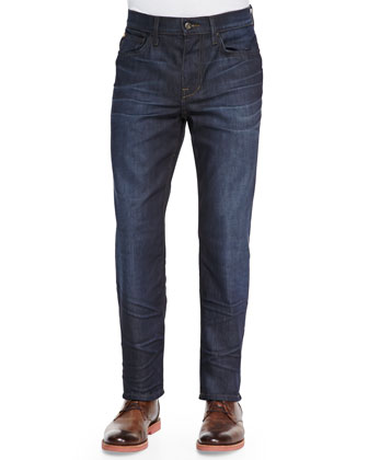 Andres Dark Relaxed-Fit Whiskered Jeans