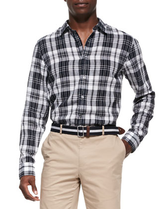 Check Shirt & Slim Twill Shorts