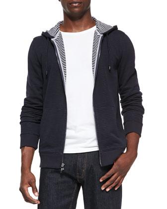 Stripe-Lined Knit Hoodie