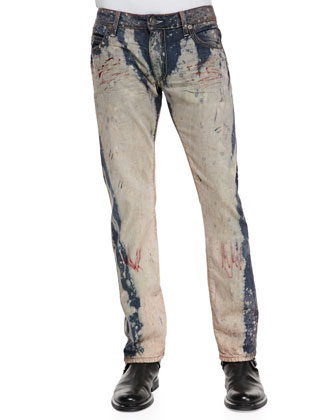 Graffiti-Wash Bleached Denim Jeans