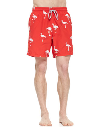 Mistral Embroidered Flamingo Swim Trunks, Red