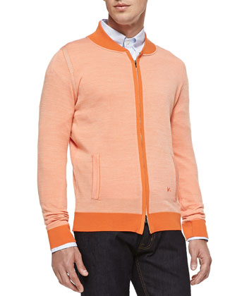 Fine-Knit Zip Cardigan, Orange