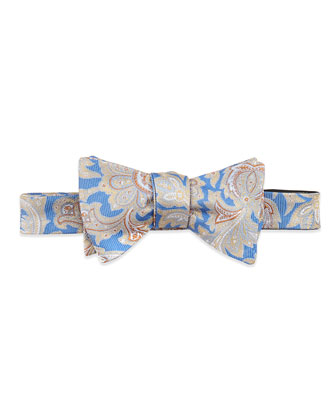 Paisley-Tapestry Silk Bow Tie, Blue