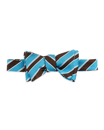 Grosgrain-Stripe Silk Bow Tie, Aqua
