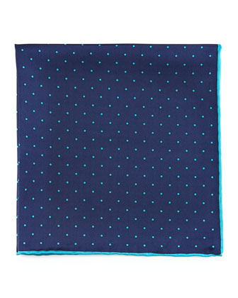 Dot-Print Pocket Square, Navy/Teal