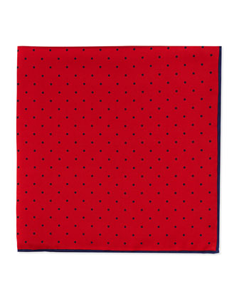 Dot-Print Pocket Square, Red/Navy