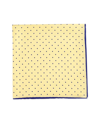 Dot-Print Pocket Square, Yellow/Navy