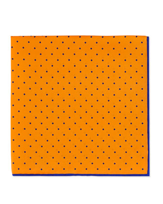 Dot-Print Pocket Square, Orange/Red